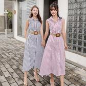 VK精品服飾 韓系時尚氣質收腰大擺長版條紋無袖洋裝