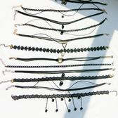 降價兩天-女士頸帶13件套裝項鍊鎖骨鍊簡約女氣質學生短版頸鍊項圈脖子頸帶
