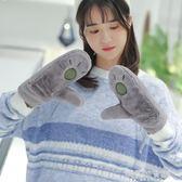 手套女士冬季韓版加厚加絨保暖可愛日系軟妹卡通掛脖學生防寒防風解憂雜貨鋪