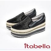 2017秋冬新品itabella.漸層水鑽厚底懶人包鞋(7563-90黑)