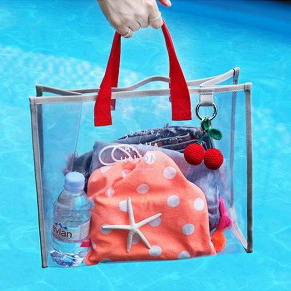 《WEEKEIGHT》時尚簡約多功能全透明防水PVC手提袋/購物袋