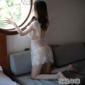 情趣內衣騷開檔漏乳挑逗三點式透明睡衣性感誘惑免脫床上激情套裝 花樣年華