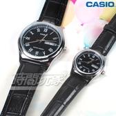 CASIO卡西歐 MTP-V006L-1B+LTP-V006L-1B 情人對錶 休閒時尚簡潔大方 羅馬時刻 真皮 防水 對錶 黑色