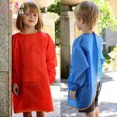 環保款兒童防水畫畫衣大中童圍裙反穿長袖罩衣夏