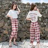 休閒套裝女夏新款時尚寬鬆顯瘦印花t恤格紋燈籠褲兩件套  潮流衣舍