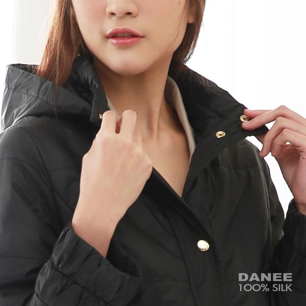 【岱妮蠶絲】極輕量舖蠶絲長版連帽外套(黑)