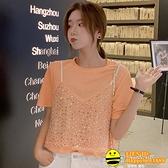 夏季新款韓版亮片設計上衣女假兩件套T恤時尚寬鬆寬版顯瘦百搭女【happybee】