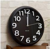 siton時尚創意靜音掛鐘現代簡約時鐘個性數字鐘錶藝術客廳石英鐘(掛鐘圓形黑色)