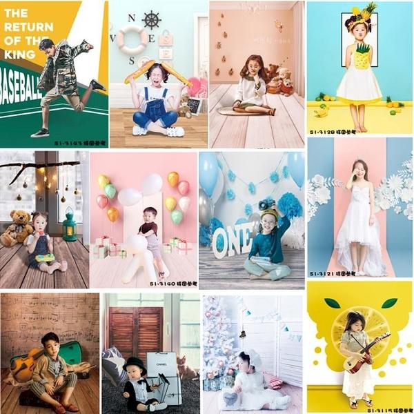背景布 影樓兒童攝影卡通歐美風周歲新生兒生日主題簡約室內拍照背景紙壁貼壁紙