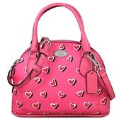 COACH 橢圓標防刮皮革愛心圖案兩用包 貝殼包 肩背包 斜背包 (粉色)-33852SVP1