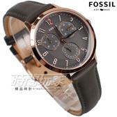 CH3099 FOSSIL 韓風 三眼多功能計時腕錶 女錶 真皮錶帶 日期顯示 防水手錶 咖啡x玫瑰金色