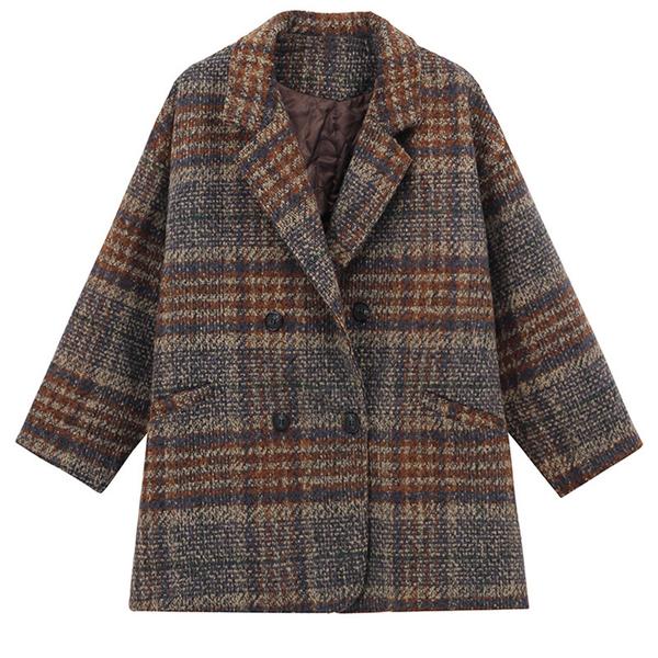 粗花格子毛呢外套 中長款女士外套 潮流時尚女生外套 流行女外套韓版外套 原創刷毛大衣外套