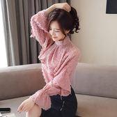 韓系上衣277#春季款女裝韓版百搭寬松雪紡衫荷葉邊長袖打底衫GT6F631紅粉佳人