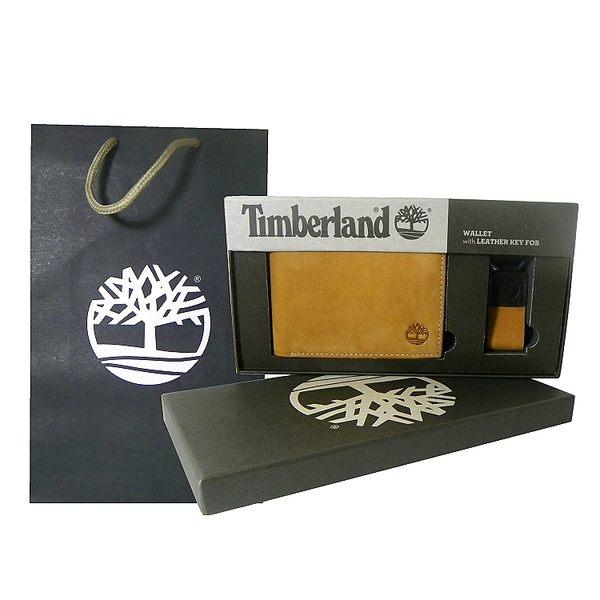 Timberland 駝橘磨砂麂皮男性短夾 + 鑰匙圈、精美禮盒組 附原廠紙袋