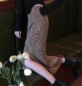 豹紋半身裙女季新款高腰復古顯瘦包臀A字裙中長款裙子