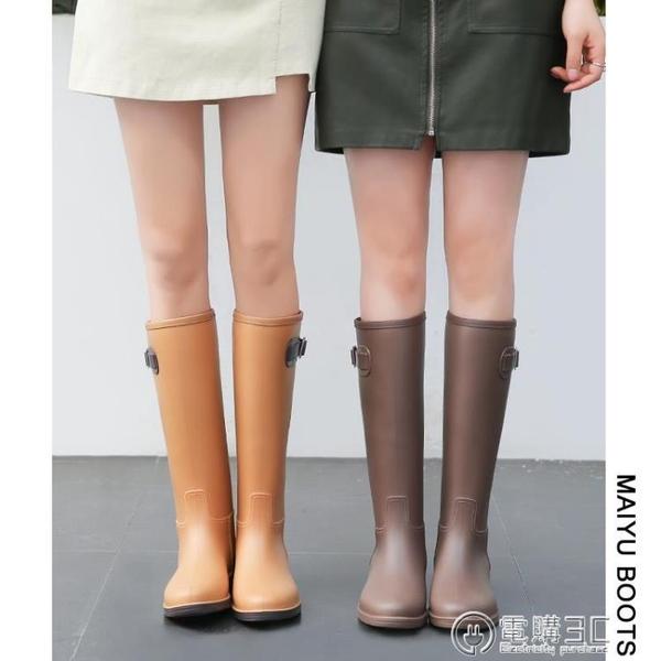 雨鞋女時尚款外穿雨靴長筒加絨保暖防水高筒水靴防滑膠鞋女士水鞋  聖誕節免運