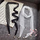 蕾絲絲巾正韓圍巾領巾小長款細絲巾項鏈方巾