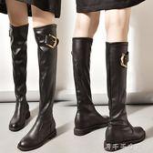 過膝長靴女歐洲站秋冬顯瘦高筒靴平跟長筒皮靴平底騎士靴 千千女鞋