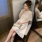 蕾絲洋裝 2020夏季中長款白色蕾絲連身...