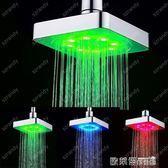 七彩蓮蓬頭 led方形頂噴 花灑七彩自變色發光頂噴 led6寸淋浴頭LD8020-B1 歐萊爾藝術館