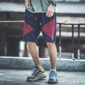 街頭hiphop撞色休閒褲男士夏季個性原創刺繡字母短褲原宿風工裝褲小確幸生活館