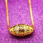 沙金項鏈  越南沙金路路通轉運珠項鏈吊墜本命年簡約盒子鏈