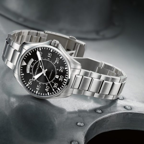 Hamilton 漢米爾頓 KHAKI PILOT飛行員系列機械腕錶-黑x銀/42mm H64615135