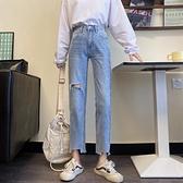 牛仔褲 牛仔褲女秋季薄款褲子高腰直筒修身顯瘦百搭九分褲-Ballet朵朵