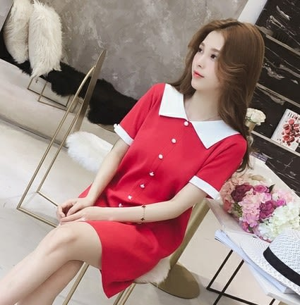 EASON SHOP(GU7069)小香風白色撞色領單排扣鈕扣裝飾冰絲針織連身裙洋裝直筒短裙中長款修身紅色黑色