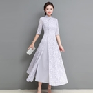 越南旗袍洋裝 改良旗袍連身裙2021春夏新款中長款少女復古民族風女裝越南奧黛裙