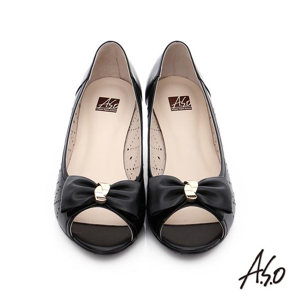 A.S.O 氣質名媛 全真皮沖孔蝴蝶結魚口楔型跟鞋  黑