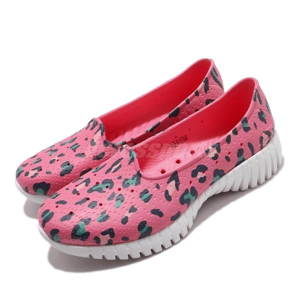Skechers 休閒鞋 Go Walk Smart-Island Girl 粉紅 豹紋 女鞋 水鞋 排水設計 套入式 懶人鞋【ACS】 111119PKMT