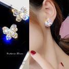925純銀針  韓國優雅氣質  優美耀眼水鑽蝴蝶 耳環-維多利亞190366