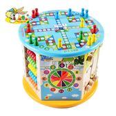 兒童玩具大號繞珠百寶箱1-3歲寶寶益智串珠木制多功能六面體禮物LK3010『毛菇小象』