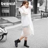 男女通用時尚透明帽檐雨衣雨披 成人背包雨衣長款長版 戶外徒步旅游三角衣櫥