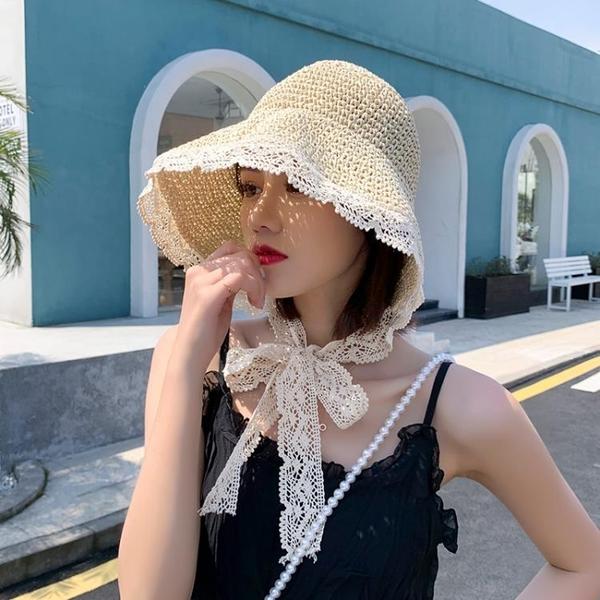 帽子女夏季新款2020網紅蕾絲系帶草帽2021春秋時尚沙灘防曬遮陽帽 夢幻小鎮
