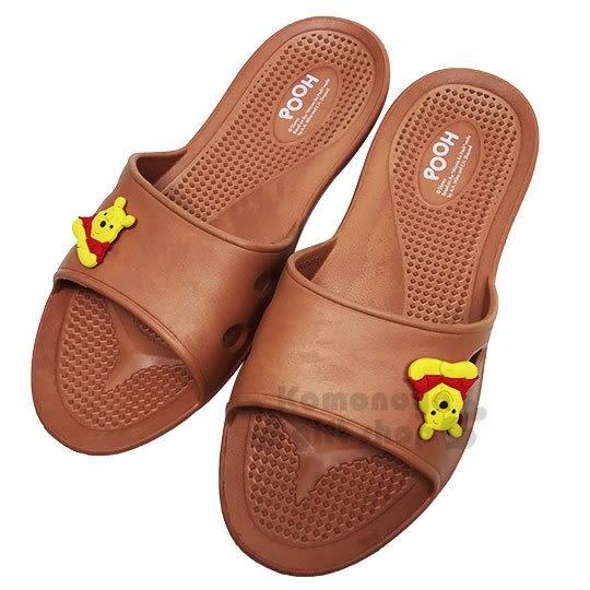 〔小禮堂〕迪士尼 小熊維尼 極輕防滑塑膠拖鞋《淡棕.大臉》室內拖鞋.浴室拖鞋 713052-38971