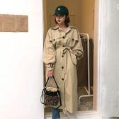 梨卡 - 秋冬韓國英倫風寬鬆顯瘦純色過膝繫帶綁帶長袖百搭卡其色中長版風衣外套BR117