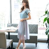 現貨藍L短袖洋裝連身裙10293/現貨類商品請和其他商品分開下單謝謝