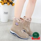 時尚防水鞋防滑中筒膠鞋套鞋雨鞋女短筒加絨雨靴【福喜行】