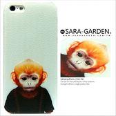 客製美式ZOO 手繪無辜吊袋小猴iPhone 6 6S 5 5S SE 手機殼荔枝紋硬殼Sara Garden ~A0125006 ~