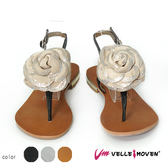玫瑰花鞋飾 羊皮製 VelleMoven 真皮涼鞋  小低跟 鞋扣式 夾腳人字涼鞋 典雅黑