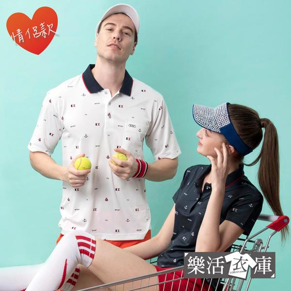 《情侶款》英式印花速乾排汗涼感短POLO衫 透氣 機能(共二款) ● 樂活衣庫【BW1008-BW1009】