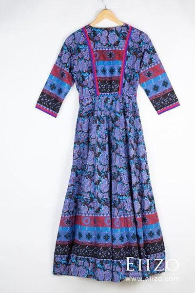 【EIIZO】尼泊爾手工刺繡柔棉洋裝(藍)