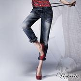 Victoria 吊帶貼袋BF褲-女-中深藍