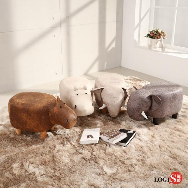 邏爵LOGIS 迷你象迷你河馬多用動物椅凳 實木四腳椅 可愛造形椅 穿鞋椅 矮凳 AD02