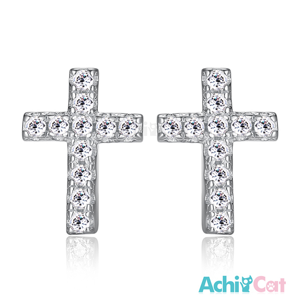 AchiCat十字小耳釘女款925純銀耳環耳針式 完美十字架 韓版迷你(銀色款單副)GS5049