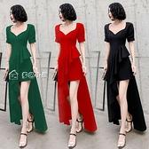 小禮服黑色宴會晚禮服夏裝新款氣質不規則荷葉邊修身顯瘦長款連身裙28日 快速出貨