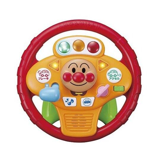 〔小禮堂〕麵包超人 燈光音樂方向盤玩具組《黃紅.大臉》兒童玩具 4971404-31559