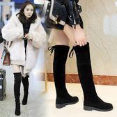 長靴 長靴女過膝新款百搭韓版顯瘦長筒彈力粗跟平底秋冬季保暖靴子【諾克男神】